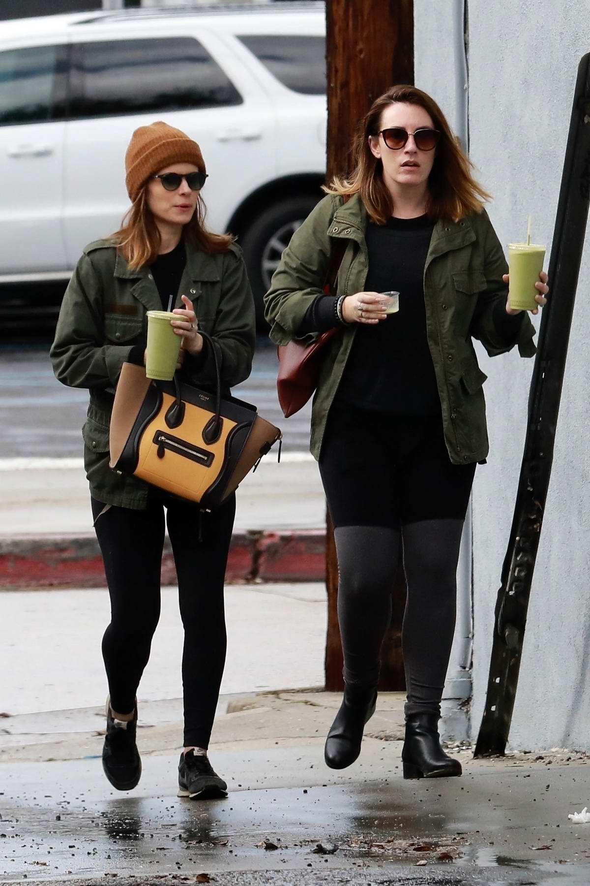 Kate Mara grabs some juice with a friend after her ballet class in Los Angeles