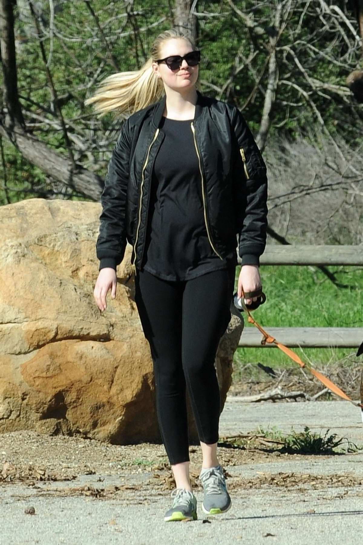 Kate Upton enjoys a morning hike with her dog in Beverly Hills, Los Angeles