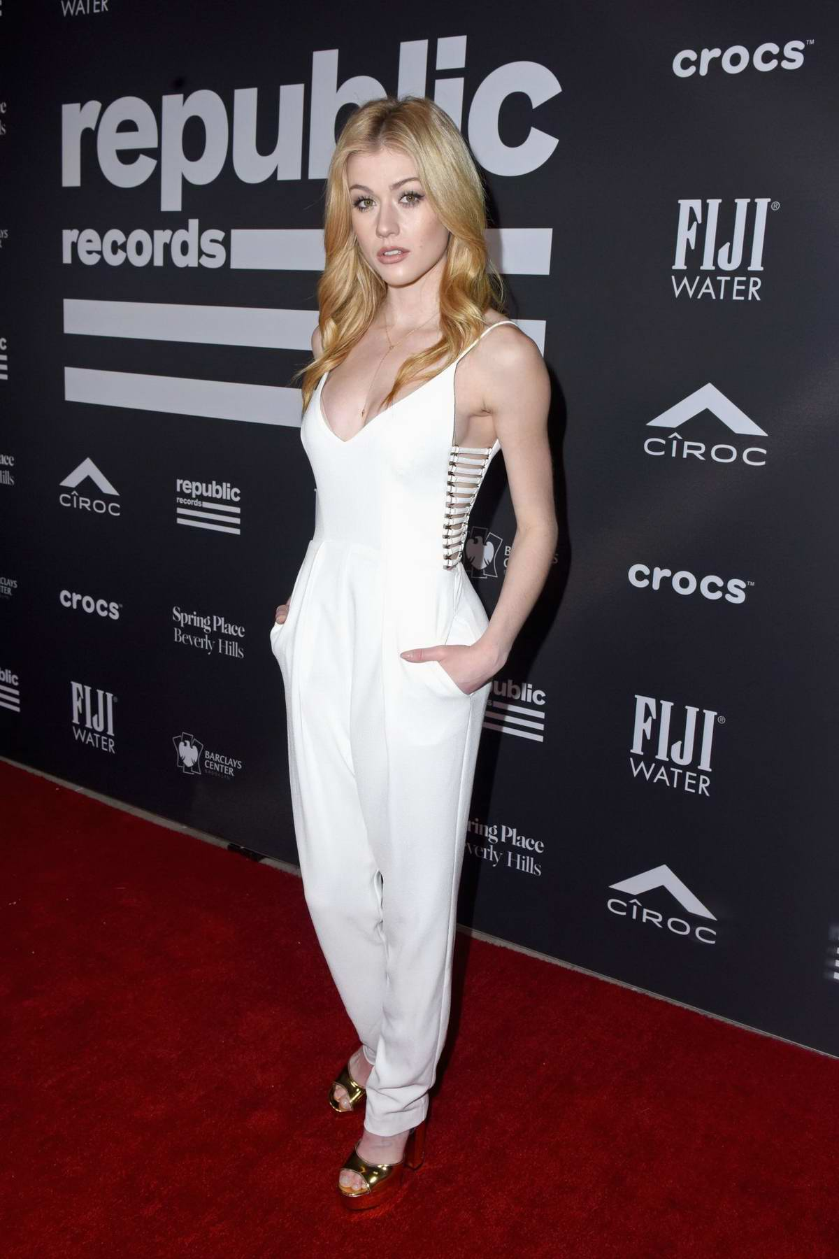 Katherine McNamara attends Republic Records' Grammys 2019 After Party in Los Angeles