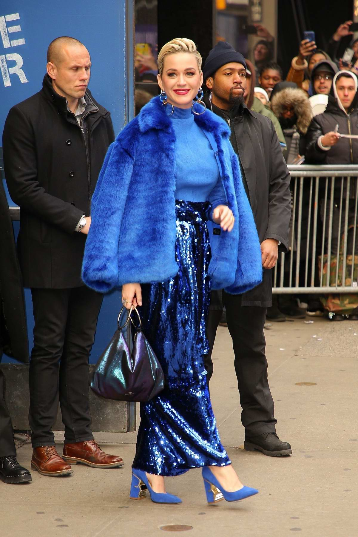 Katy Perry dazzles in a bright blue ensemble as she arrives at Good Morning America in New York City