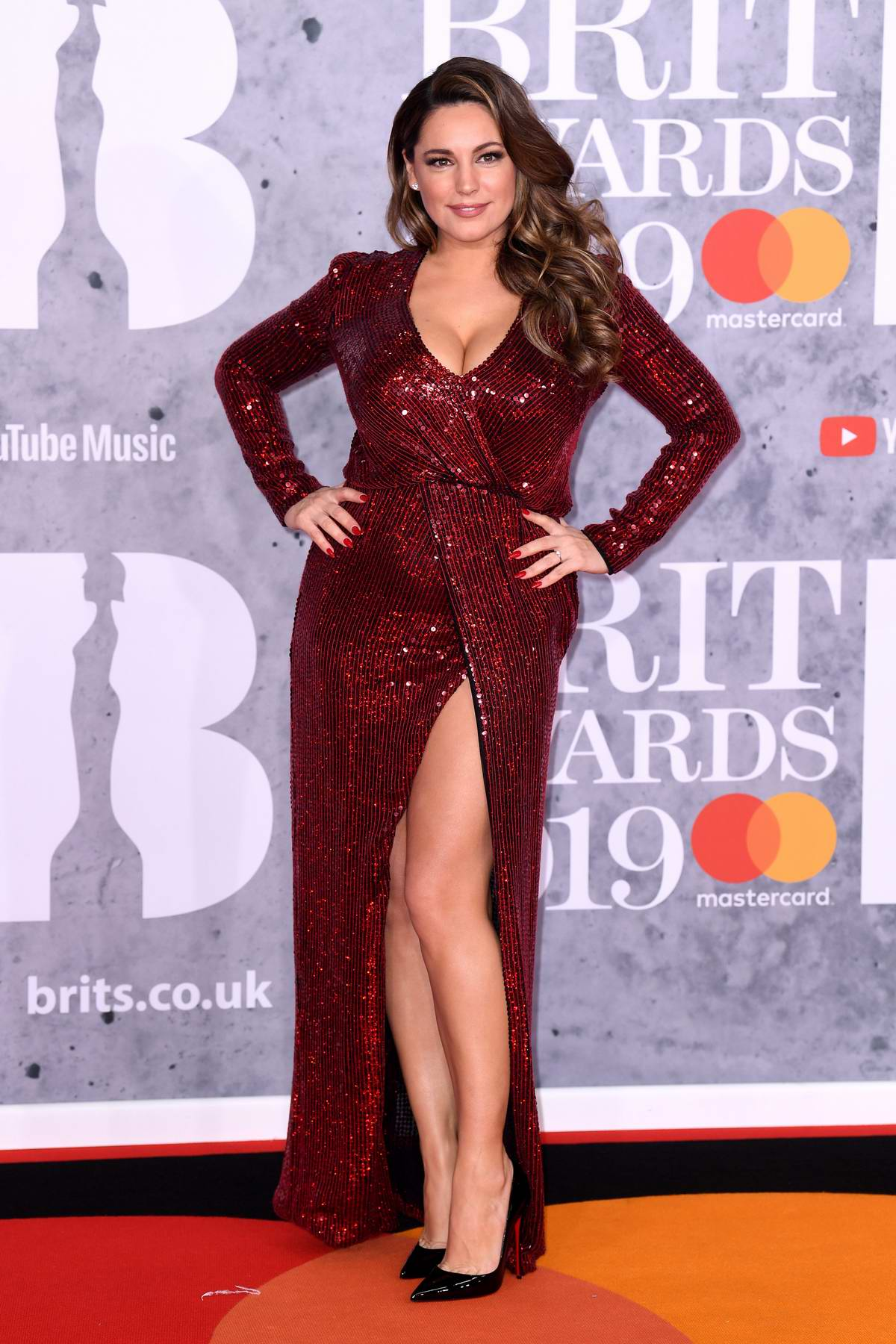 Kelly Brook attends The BRIT Awards 2019 held at The O2 Arena in London, UK