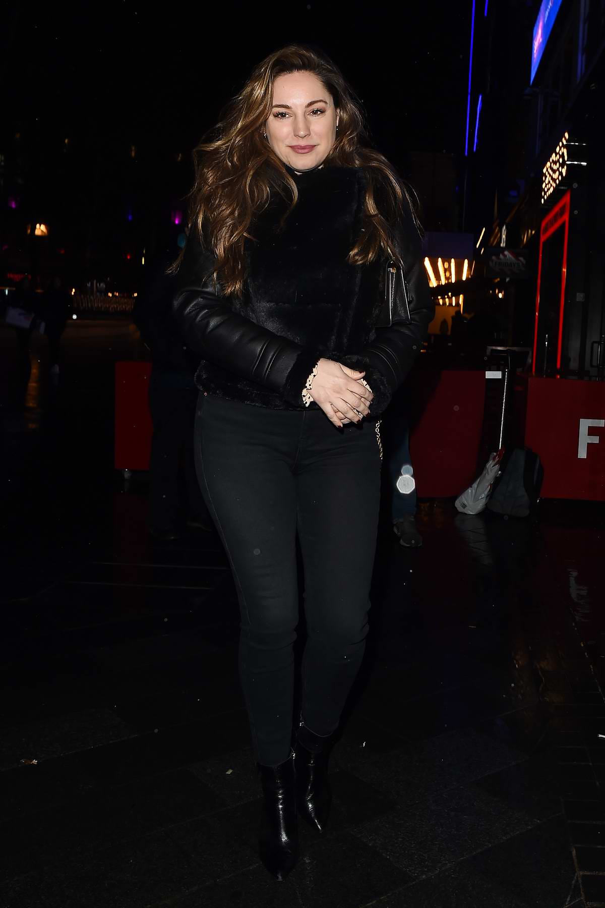 Kelly Brook rocks all black as she leaves Global Radio studios in London, UK