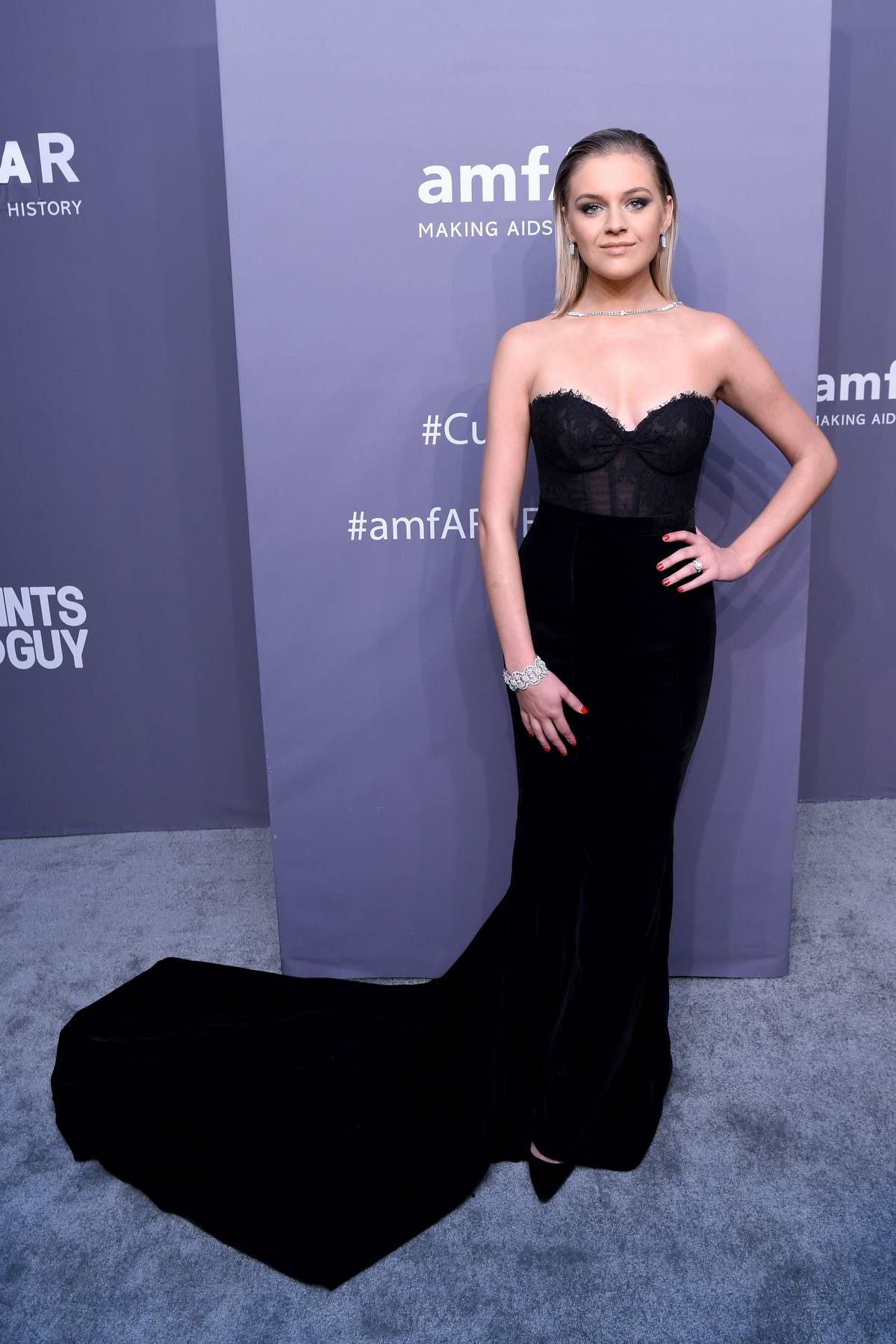 Kelsea Ballerini attends amfAR New York Gala 2019 at Cipriani Wall Street in New York City