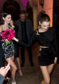 Kendall Jenner, Bella Hadid and Gigi Hadid arrives at the Versace dinner during Milan Fashion Week in Milan, Italy