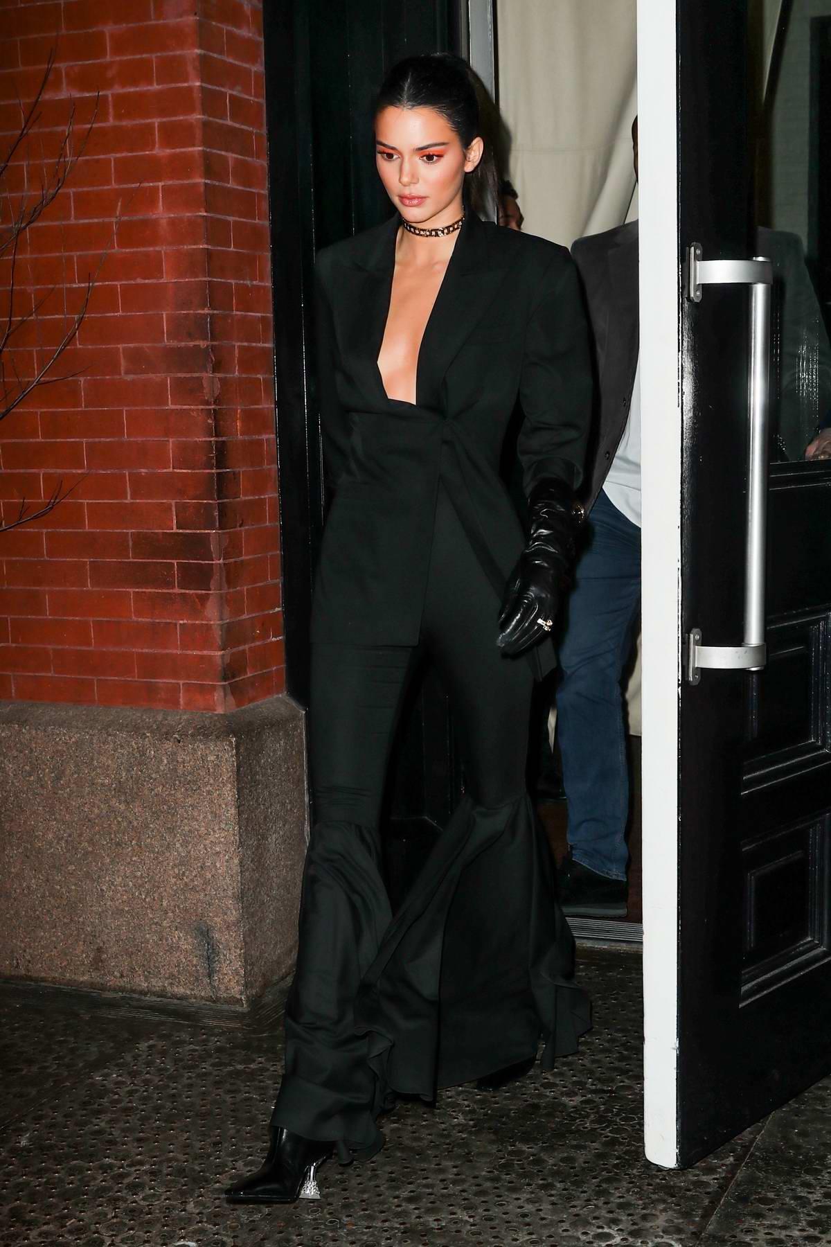 Kendall Jenner looks stunning in black suit as she leaves Mercer Hotel in New York City