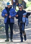 Kendall Jenner rocks a grey puffer jacket, black hoodie and black PVC pants while out for a hike with Fai Khadra in Los Angeles