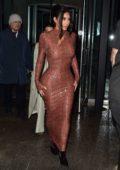 Kim Kardashian in snakeskin print dress at Milos in New York City