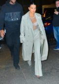 Kourtney Kardashian in White Dress at Milos in New York City