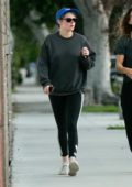 Kristen Stewart keeps it casual in a grey sweatshirt and black leggings while visiting a spa in Los Angeles