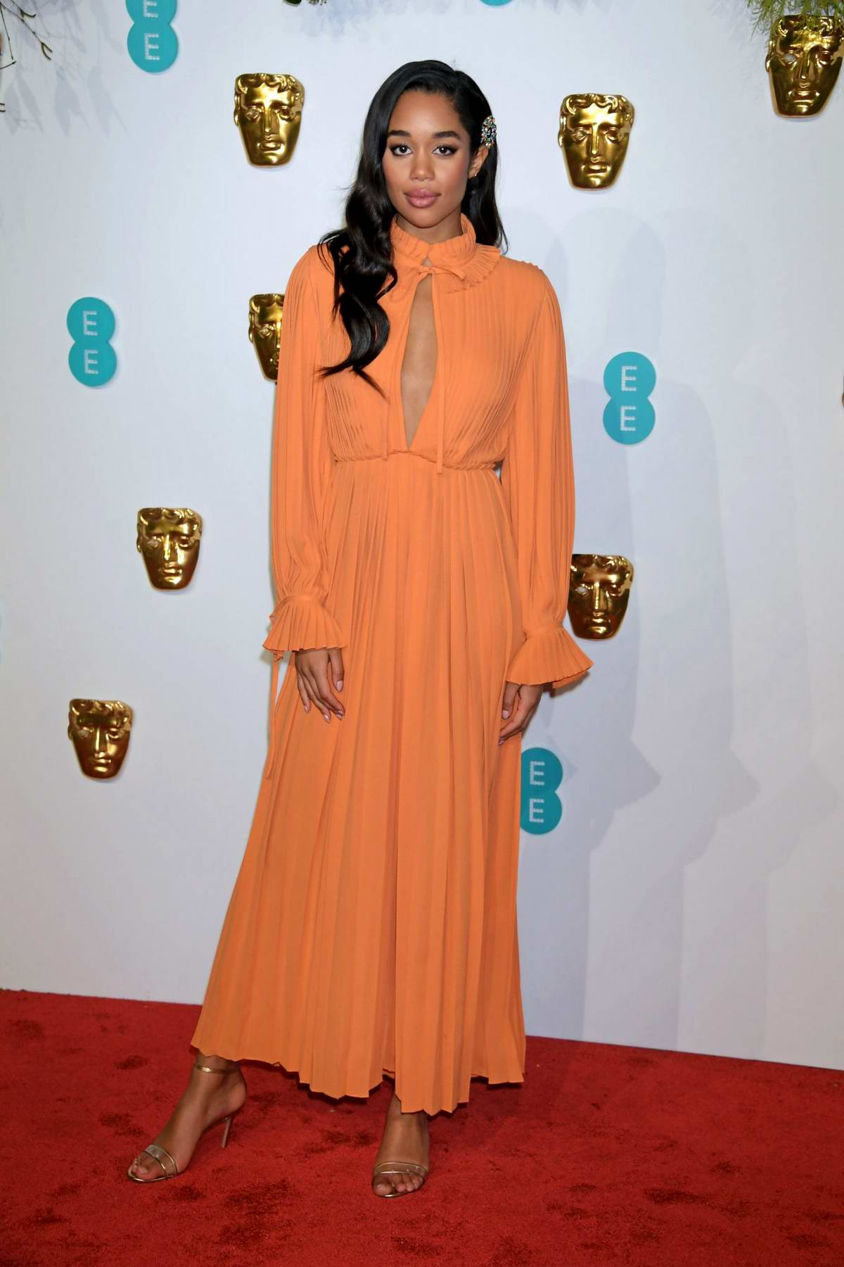 Laura Harrier attends the 72nd EE British Academy Film Awards (BAFTA 2019) at Royal Albert Hall in London, UK