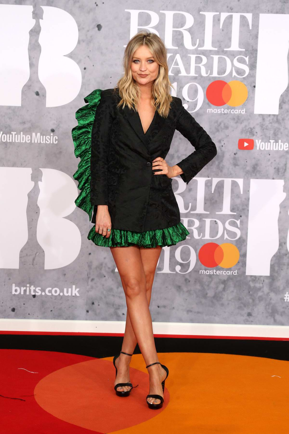 Laura Whitmore attends The BRIT Awards 2019 held at The O2 Arena in London, UK
