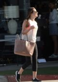 Lea Michele wears a tank top and leggings while out running errands in Los Angeles