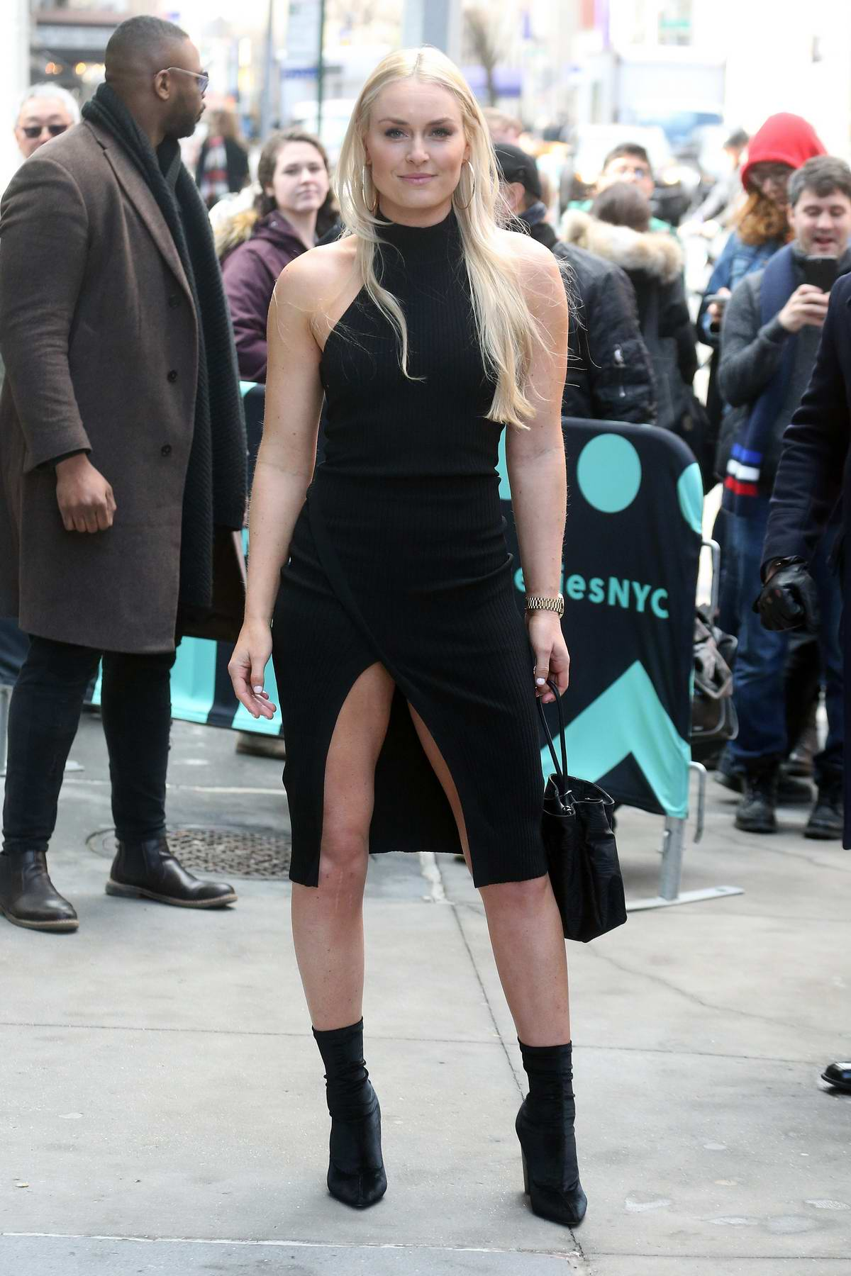 Lindsey Vonn greet her fans and pose for photos outside the AOL Build series in New York City