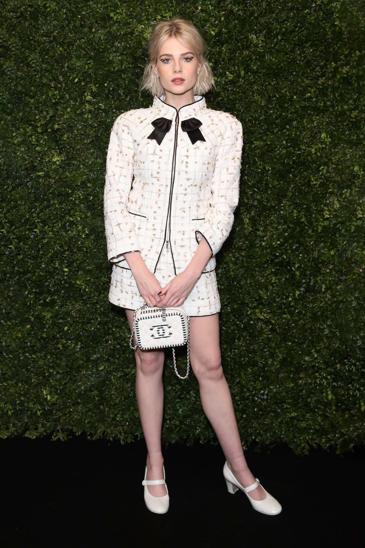 Lucy Boynton attends Charles Finch x Chanel pre-Bafta dinner in London, UK