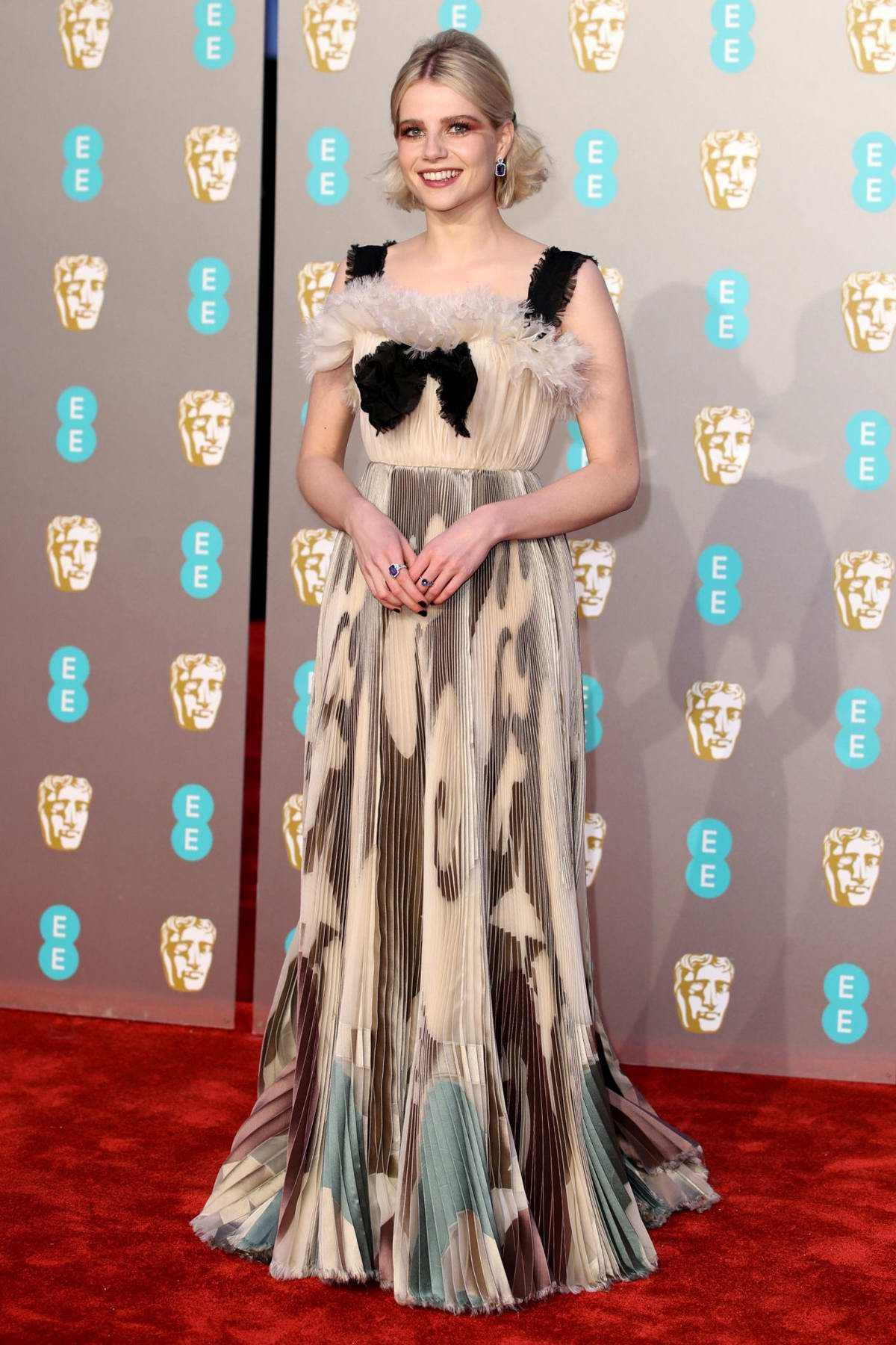 Lucy Boynton attends the 72nd EE British Academy Film Awards (BAFTA 2019) at Royal Albert Hall in London, UK