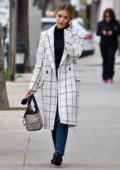 Lucy Hale looks stylish in white checkered coat as she runs some errands in Studio City, Los Angeles