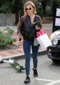 Lucy Hale spotted in a black jacket and blue leggings as she leaves Kate Somerville Skincare in West Hollywood, Los Angeles