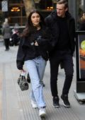 Madison Beer keeps it casual with a sweatshirt and jeans as she arrives at AOL Build Series in London, UK