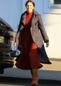 Mandy Moore spotted in a red pleated dress and brown boots as she leaves a beauty salon in Beverly Hills, Los Angeles