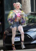 Margot Robbie dressed as Harley Quinn while filming for the Suicide Squad spin-off 'Birds of Prey' in downtown Los Angeles