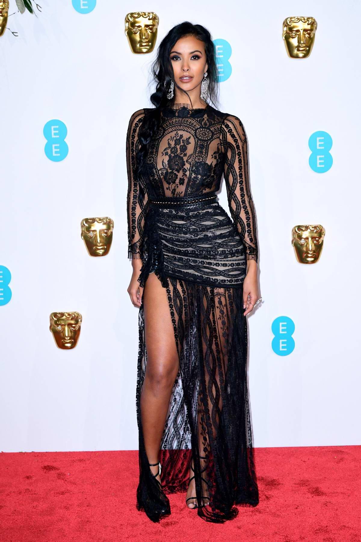 Maya Jama attends the 72nd EE British Academy Film Awards (BAFTA 2019) at Royal Albert Hall in London, UK