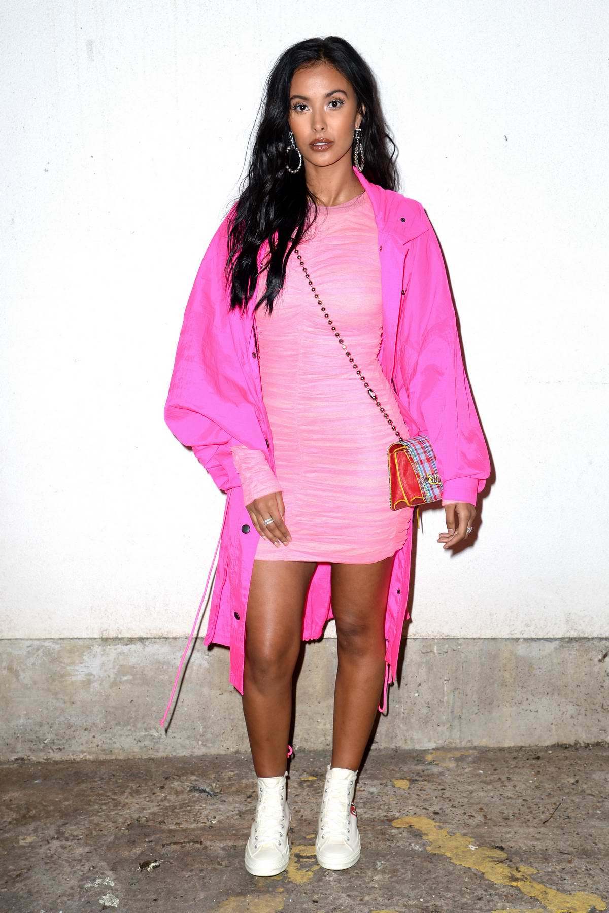 Maya Jama attends the House of Holland catwalk show during London Fashion Week in London, UK