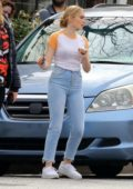 Meg Donnelly seen while filming on the set of ' American Housewife' in Los Angeles