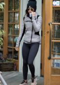 Megan Fox wears grey jacket, dark grey leggings and a beanie while out for coffee in Los Angeles