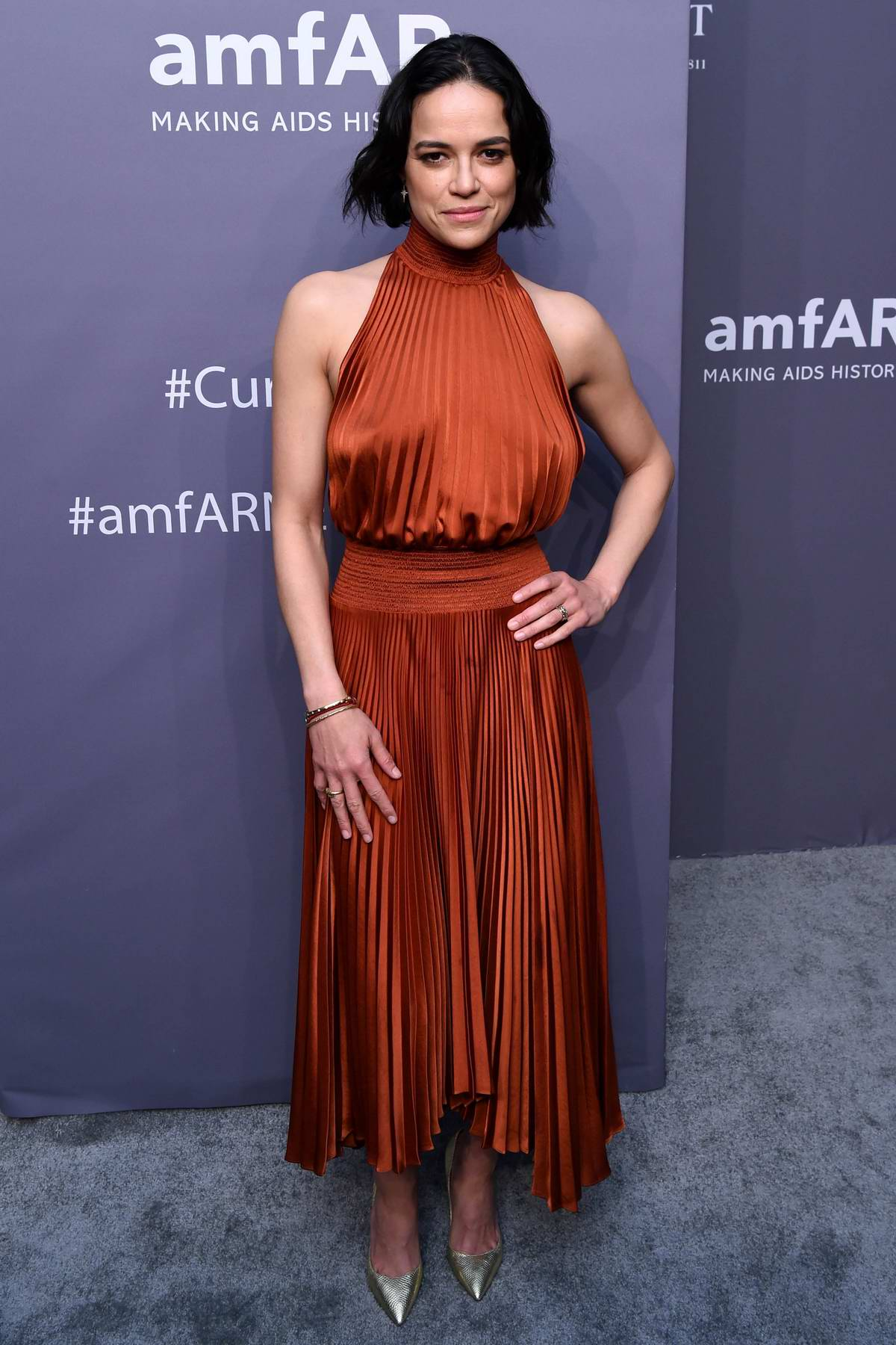 Michelle Rodriguez attends amfAR New York Gala 2019 at Cipriani Wall Street in New York City