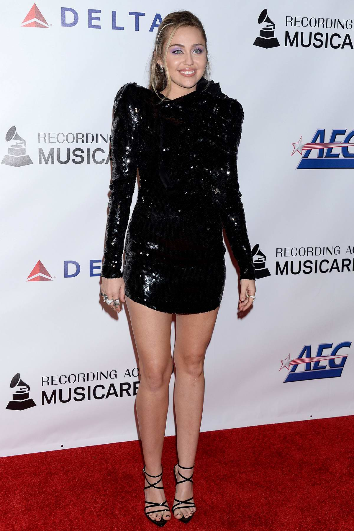 Miley Cyrus attends the MusiCares 2019 Person of the Year honoring Dolly Parton event at the Los Angeles Convention Center in Los Angeles