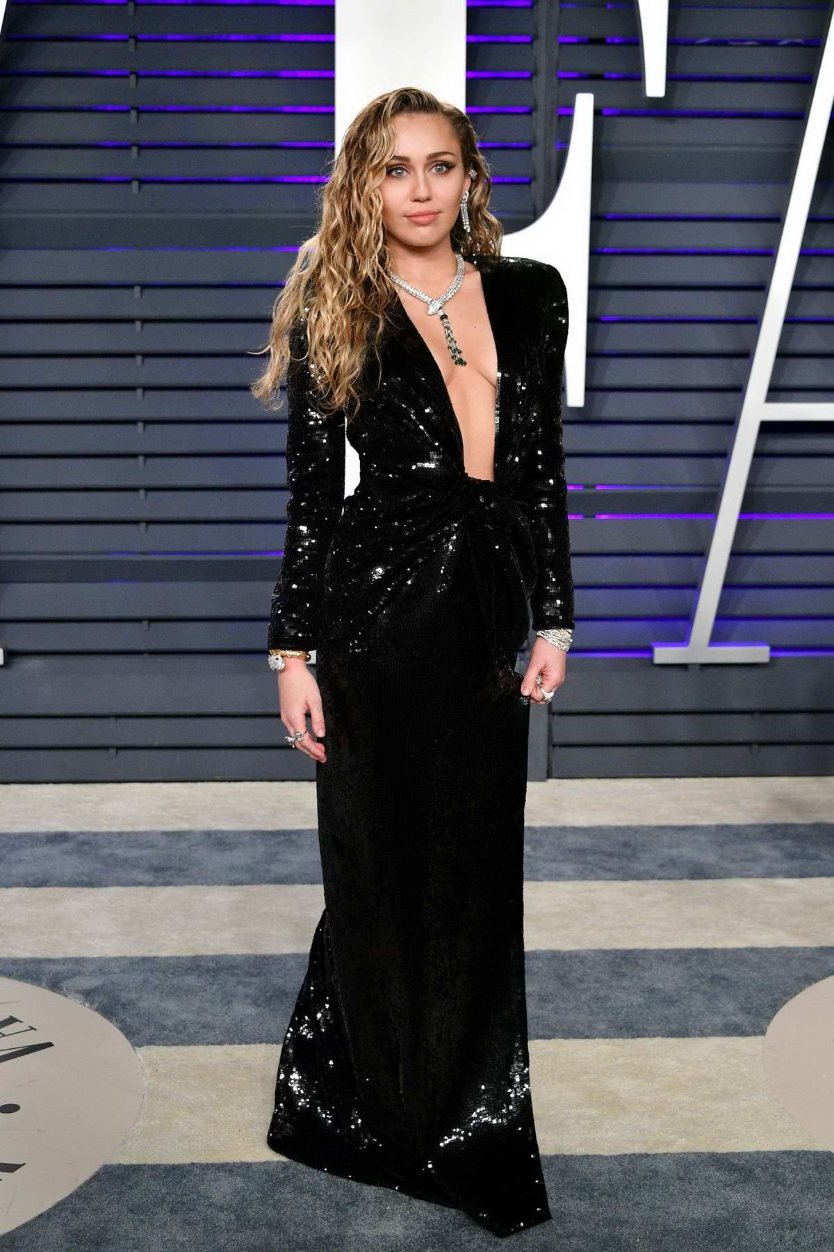 Miley Cyrus attends the Vanity Fair Oscar Party at Wallis Annenberg Center for the Performing Arts in Beverly Hills, California