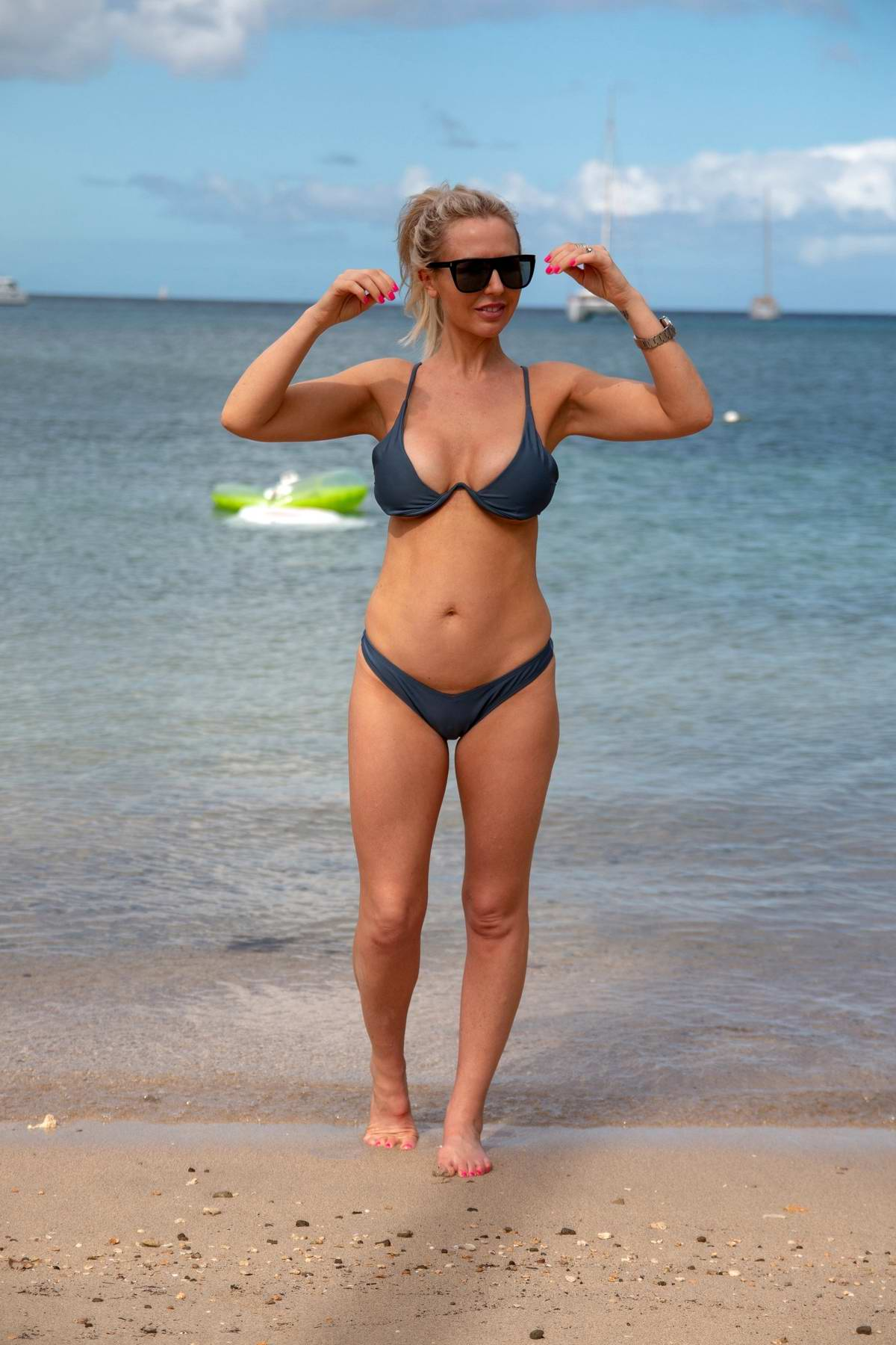 Naomi Isted shows off her bikini body while enjoying a day at the beach in Saint Lucia, Bahamas