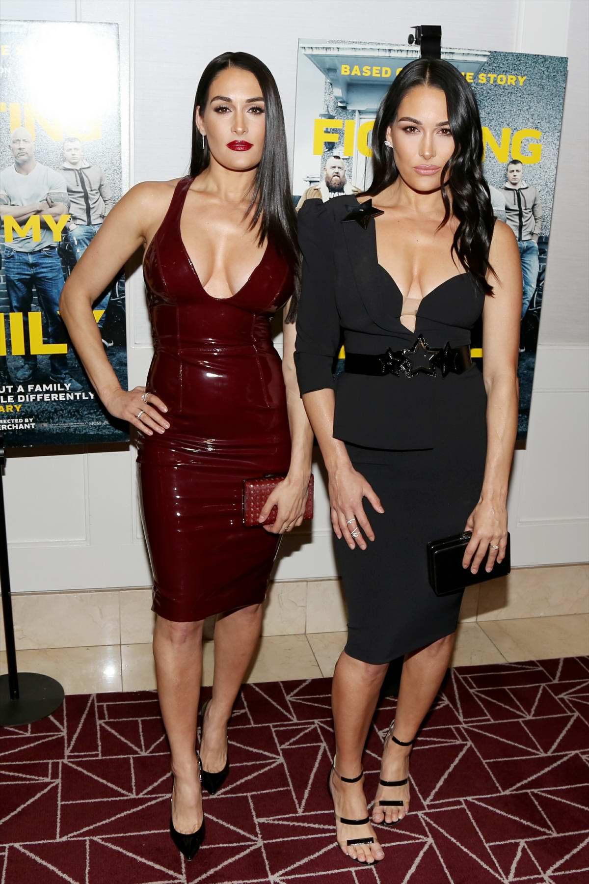 Nikki Bella and Brie Bella attends 'Fighting With My Family' Los Angeles Tastemaker Screening at The London Hotel in Los Angeles