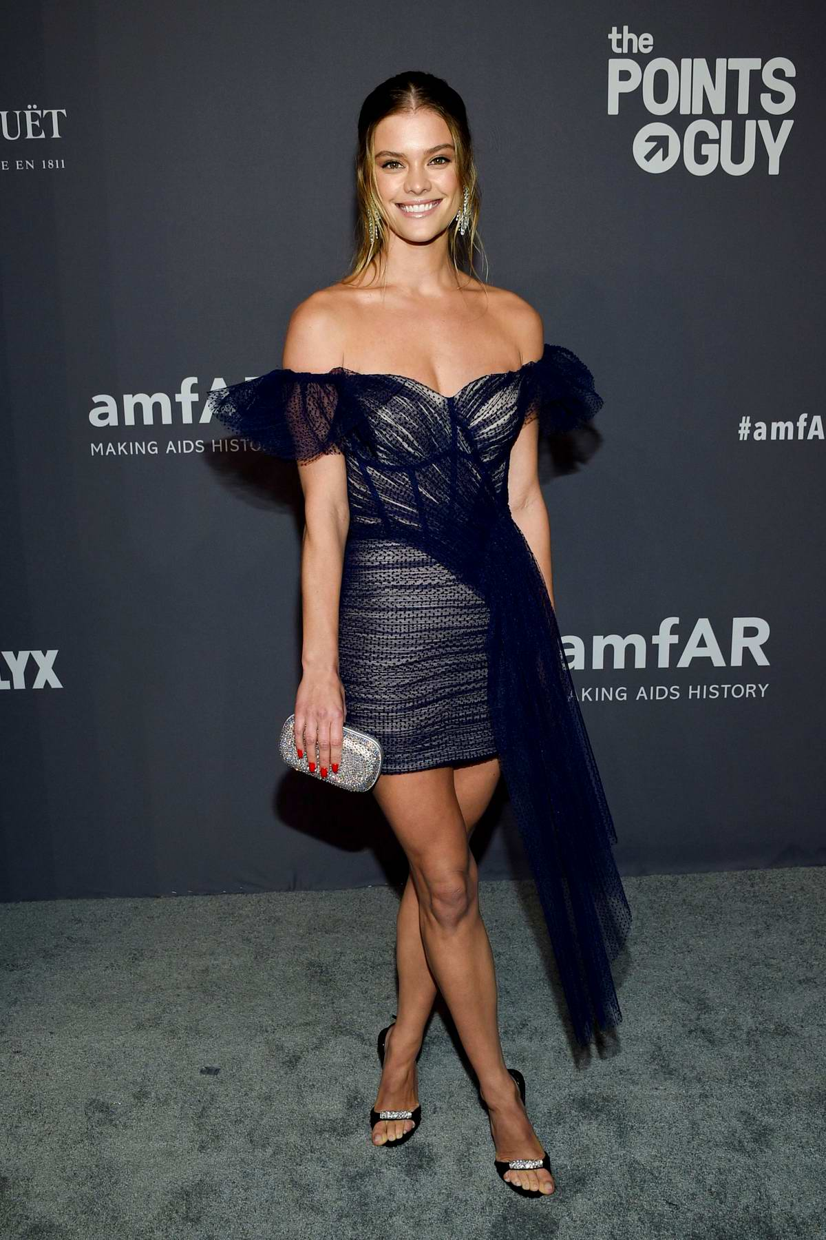 Nina Agdal attends amfAR New York Gala 2019 at Cipriani Wall Street in New York City