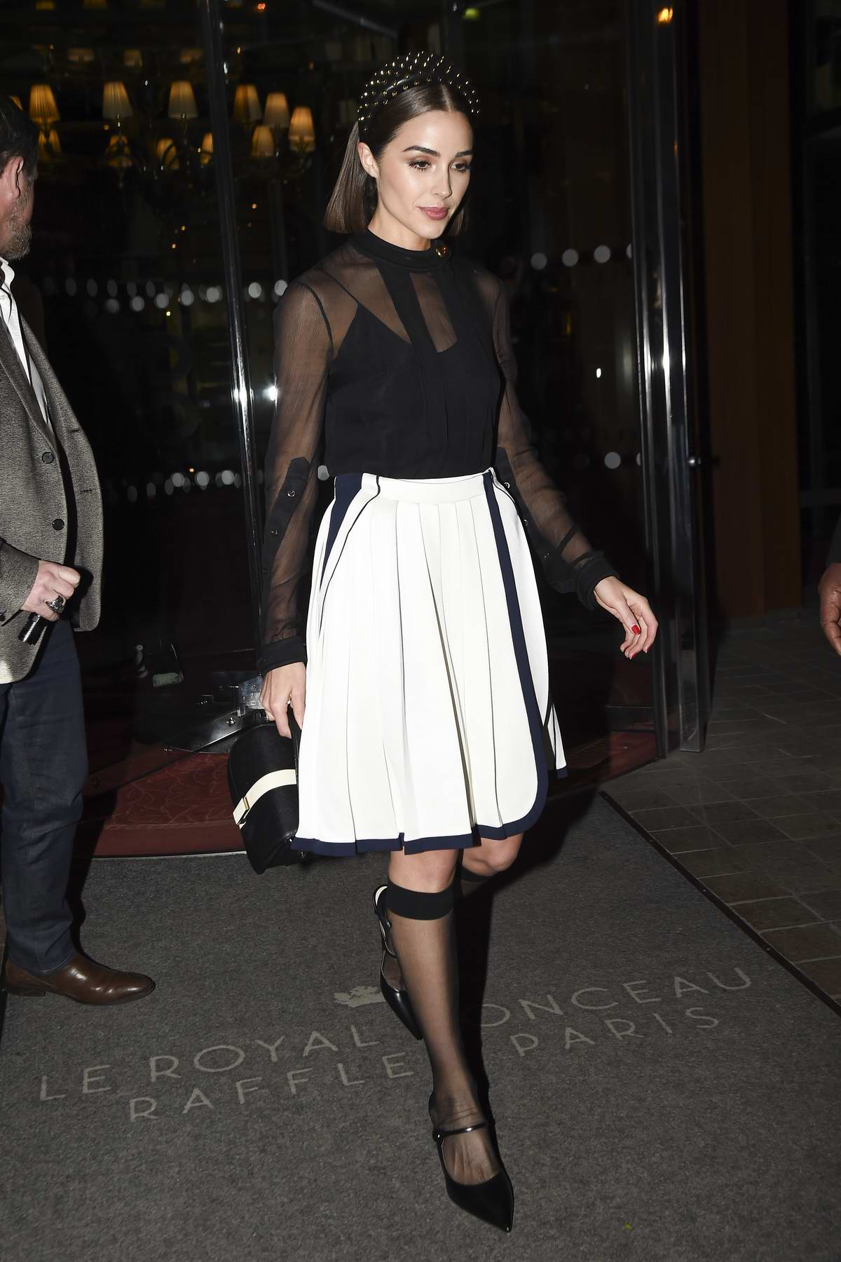 Olivia culpo seen leaving her hotel as she heads to pradas party during paris fashion week 2019 in paris france