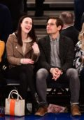 Rachel Brosnahan and husband Jason Ralph attend the Boston Celtics v New York Knicks game at Madison Square Garden in New York City