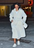 Rihanna wears white fur coat while out for dinner in New York City