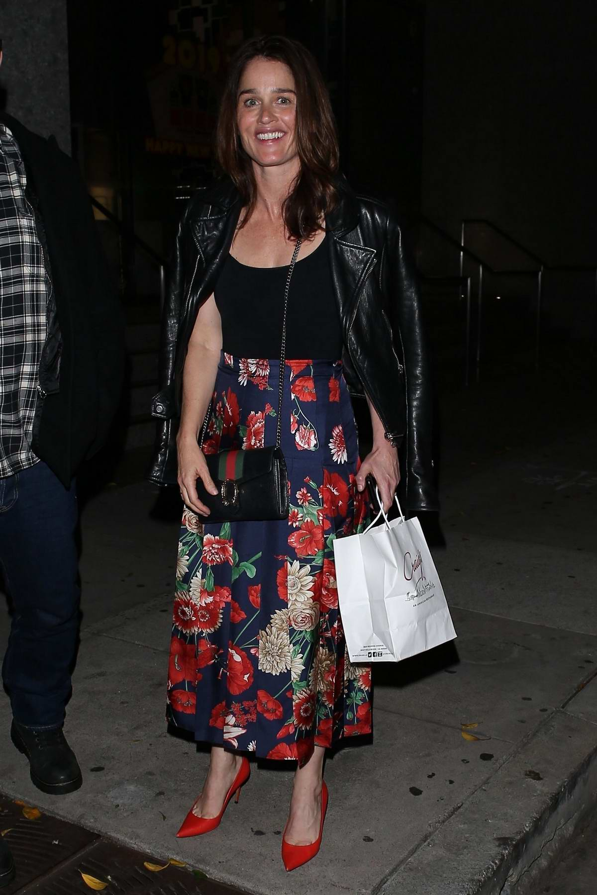 Robin Tunney seen leaving Craig's restaurant after a dinner outing in West Hollywood, Los Angeles