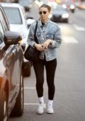 Rooney Mara steps out for some shopping wearing a denim jacket and leggings in West Hollywood, Los Angeles
