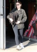 Rooney Mara wears a denim jacket with black leggings while out for some fabric shopping in Los Angeles