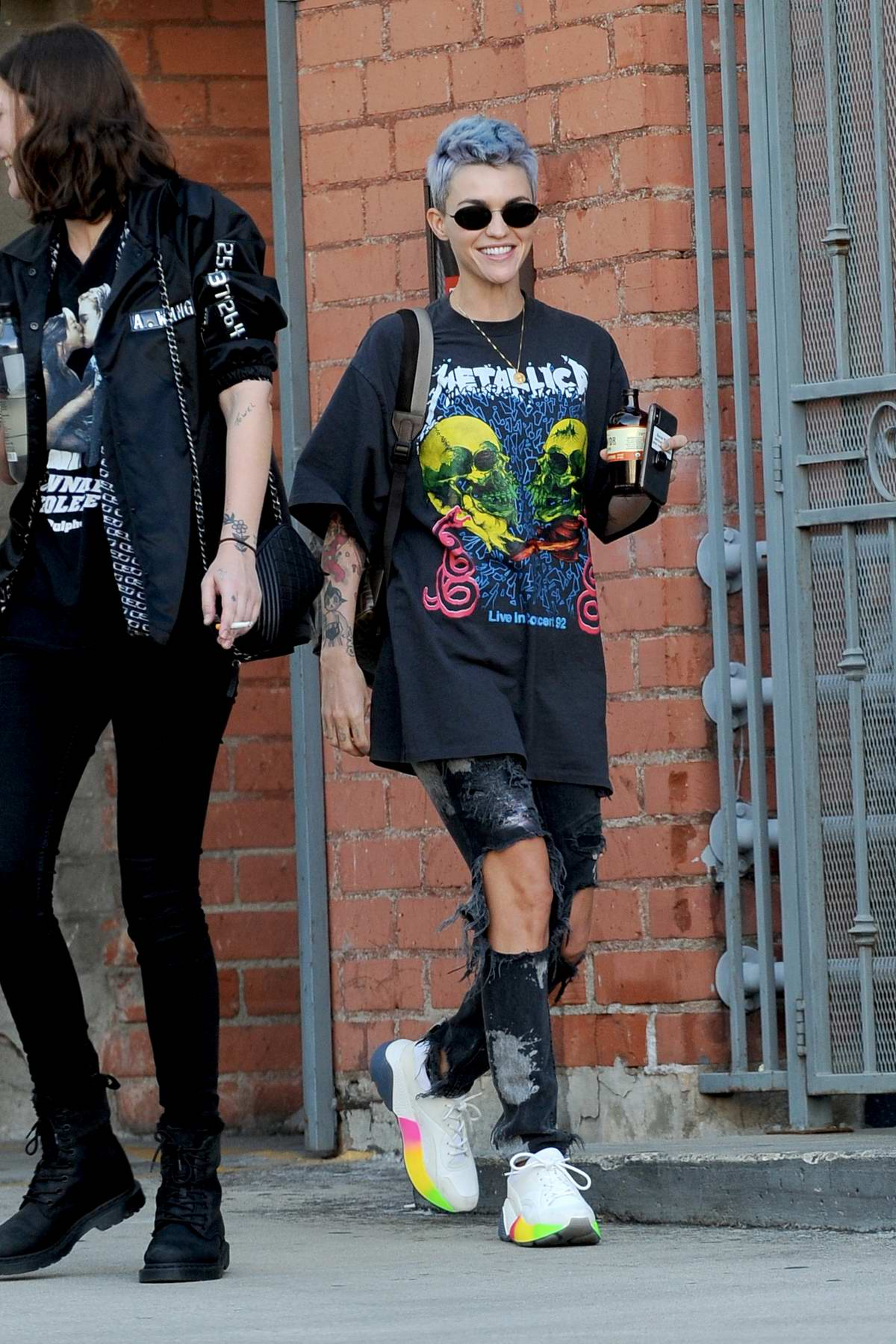 Ruby Rose shows off her new blue haido with her punk rock look while out in Beverly Hills, Los Angeles