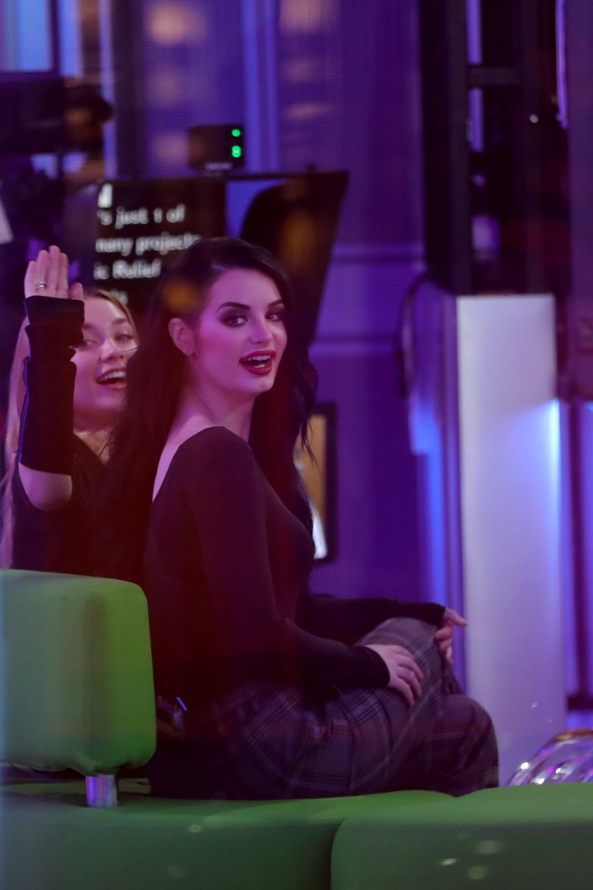 Saraya-jade 'Paige' Bevis and Florence Pugh makes an appearance on 'The One Show' at the BBC Studios in London, UK