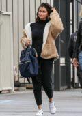 Selena Gomez wears a sherpa jacket as she heads to a studio in Los Angeles