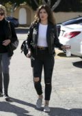 Shenae Grimes spotted in a black leather jacket, white crop top and black jeans while out in Los Angeles