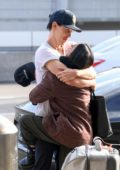 Vanessa Hudgens and Austin Buter share hugs and kisses before she flies out of LAX, Los Angeles
