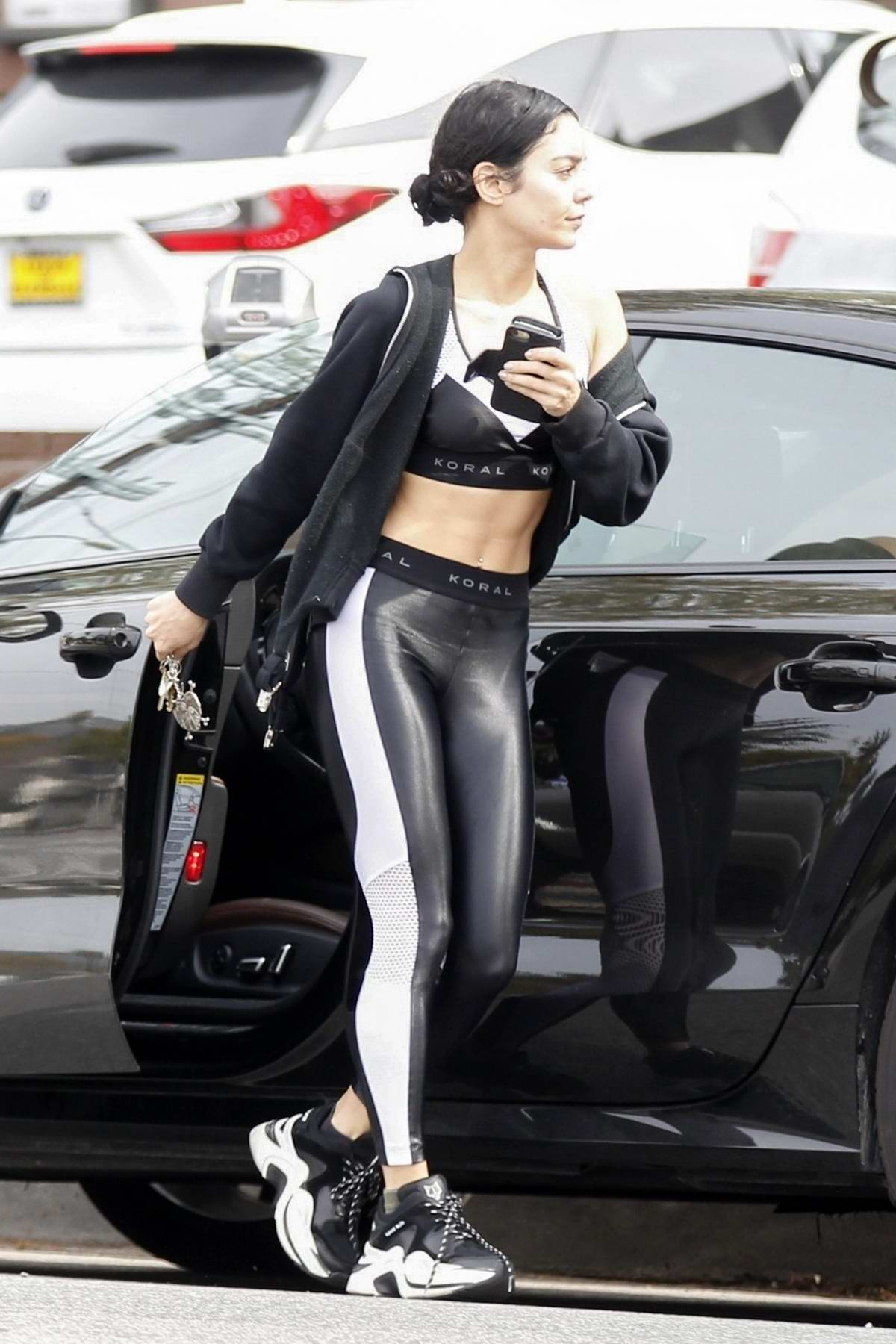 90438f4295be9 vanessa hudgens shows off her ripped abs in a black sports bra with ...