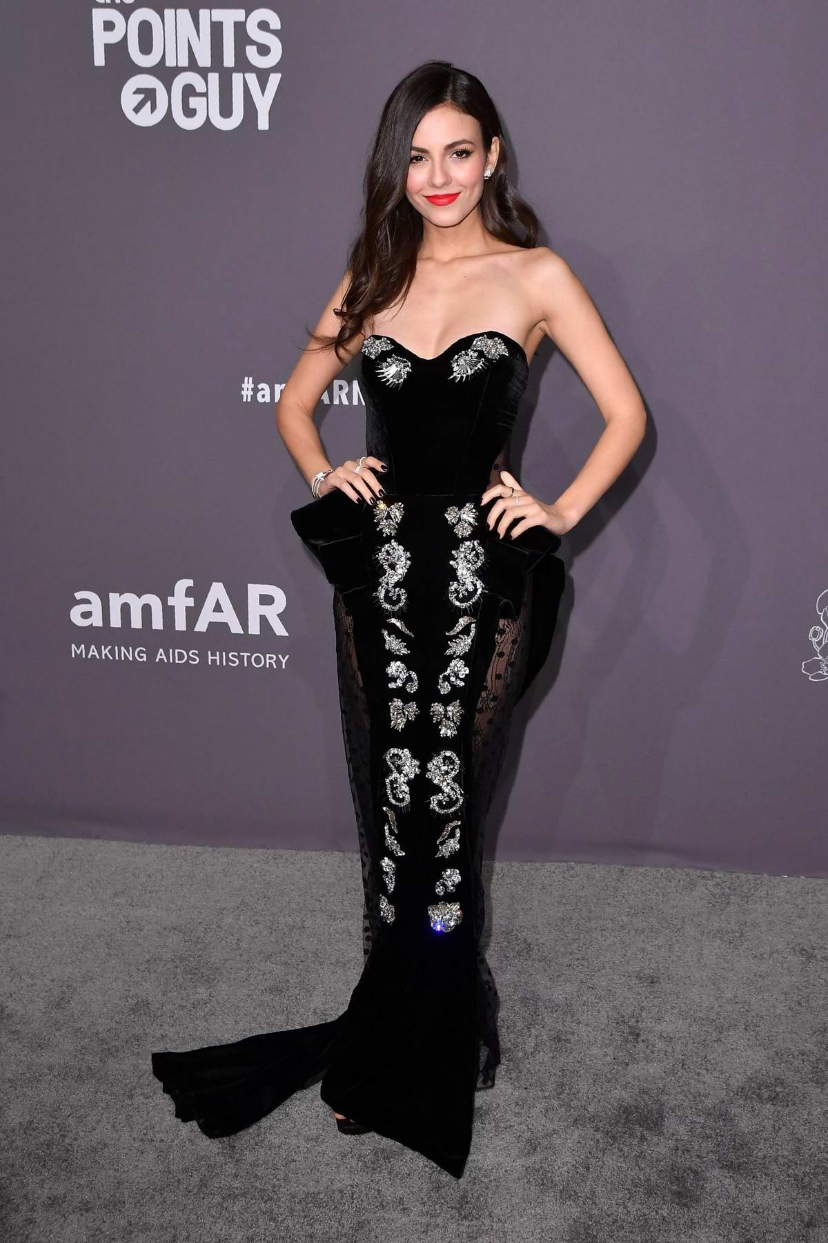 Victoria Justice attends amfAR New York Gala 2019 at Cipriani Wall Street in New York City