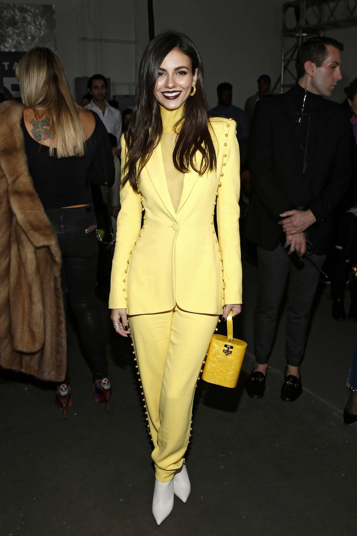 Victoria Justice attends the Pamella Roland fashion show during New York Fashion Week at Pier 59 in New York City