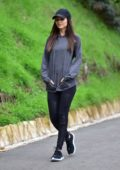 Victoria Justice wears a grey sweatshirt, black leggings and trainers while out for a hike in Los Angeles