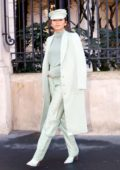 Zendaya looks stylish in an all mint colored ensemble as she leaves her hotel with Law Roach in Paris, France
